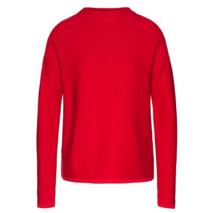 roter strickpullover aus bio-baumwolle knitted jumper made from organic cotton