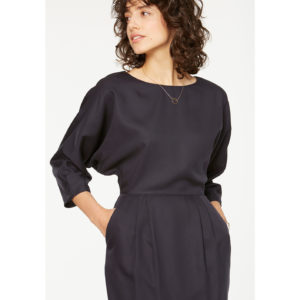 figurbetonendes kleid aus tencel marinefarben, figure hugging tencel dress navy