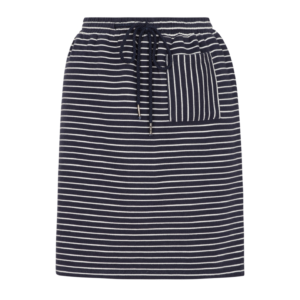 blau-weiss gestreifter Rock aus Baumwoll-Sweat (Bio-Baumwolle); blue and white striped skirt made from organic sweat material