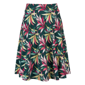 Ausgestellter Rock aus Baumwolljersey (Biobaumwolle), mit tropischem Blumenmuster auf gruenem Hintergrund; flared skirt made from organic cotton jersey, featuring tropical flowers on dark green background